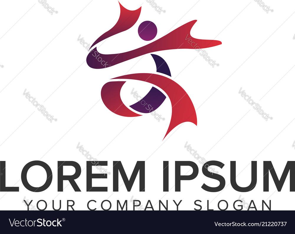People activity logo design concept template