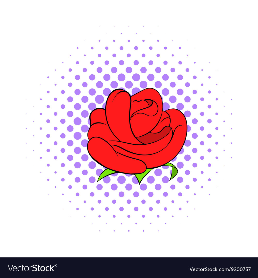 Red rose flower icon comics style