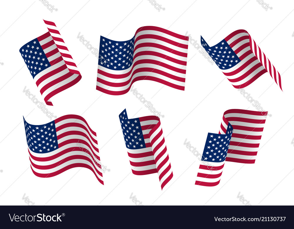 Set of 3d usa waving flag isolated on white