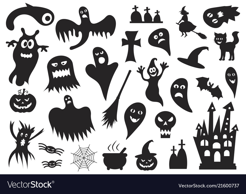 Set of silhouettes of halloween on a white
