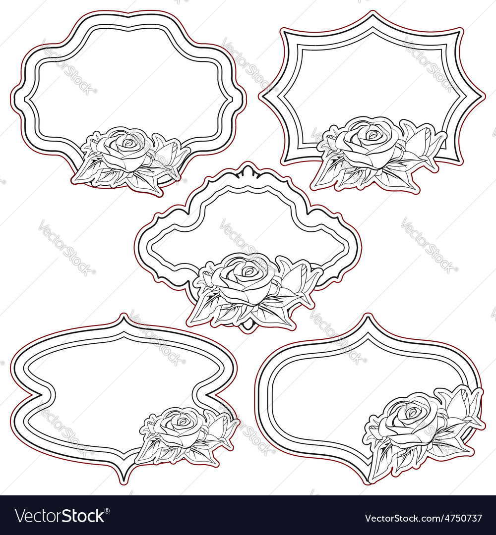 Set of vintage frames with roses isolated on