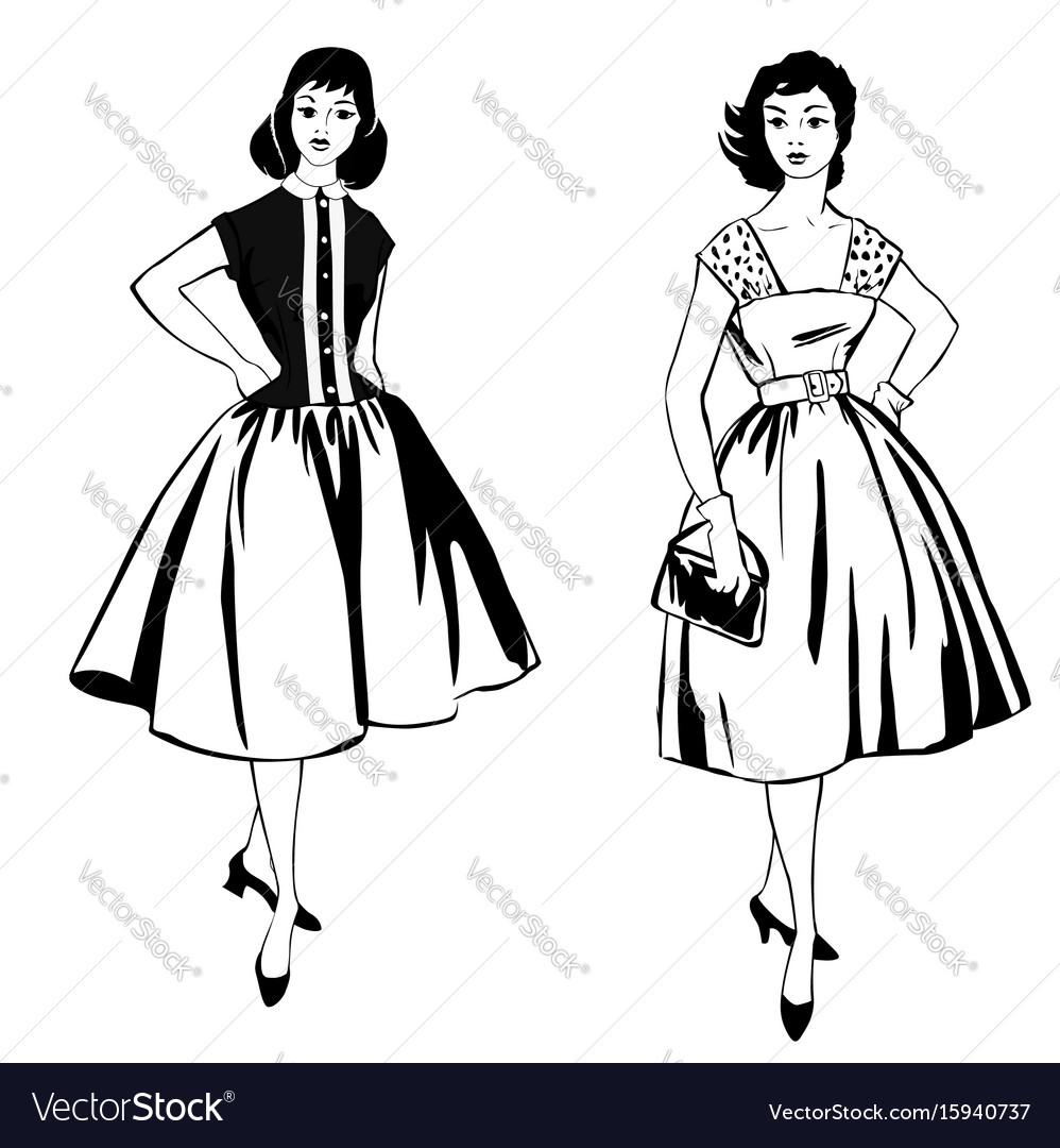 Stylish cloth woman fashion dressed girl 1960s