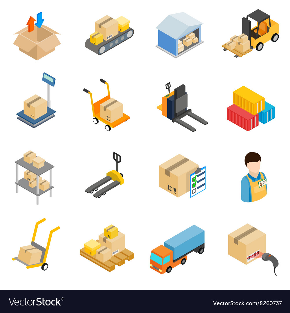 Warehouse logistic storage icons set