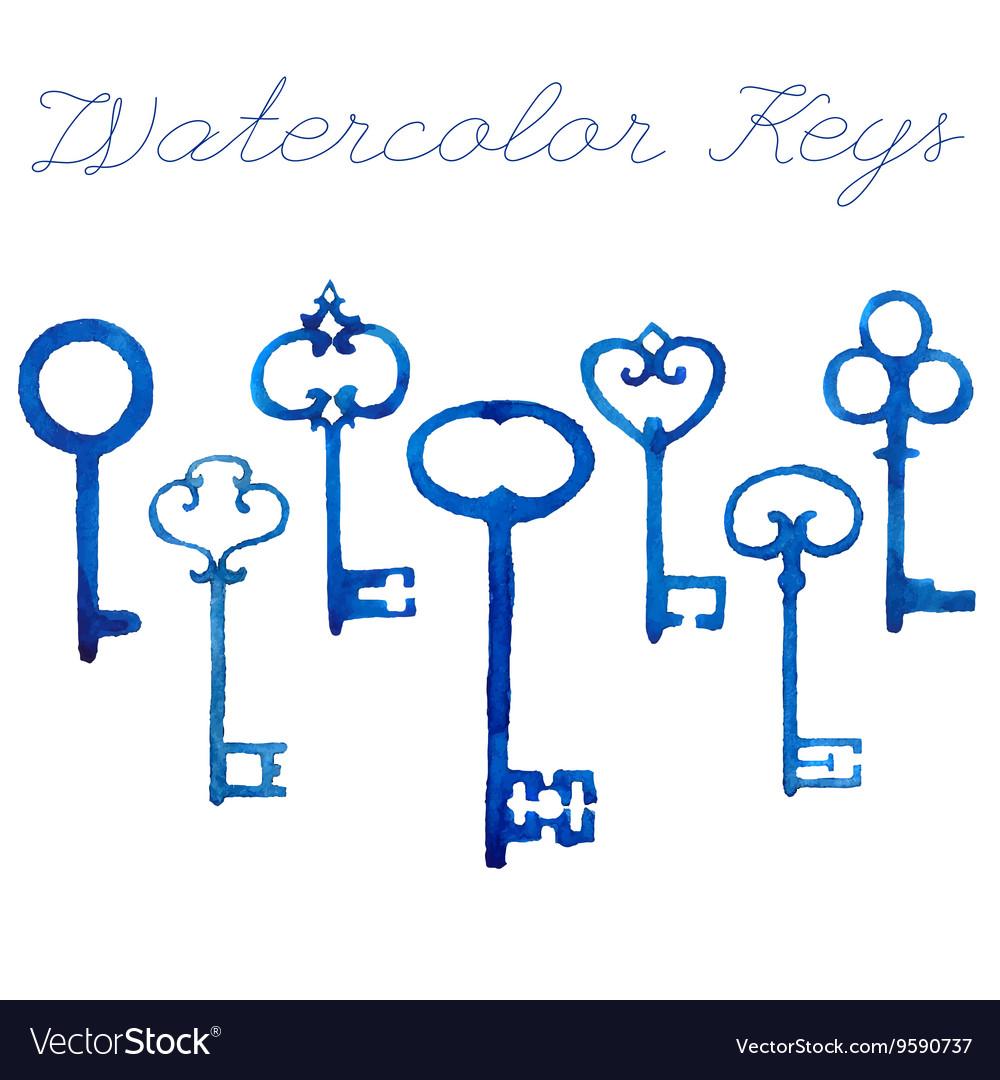 Watercolor vintage keys vector image