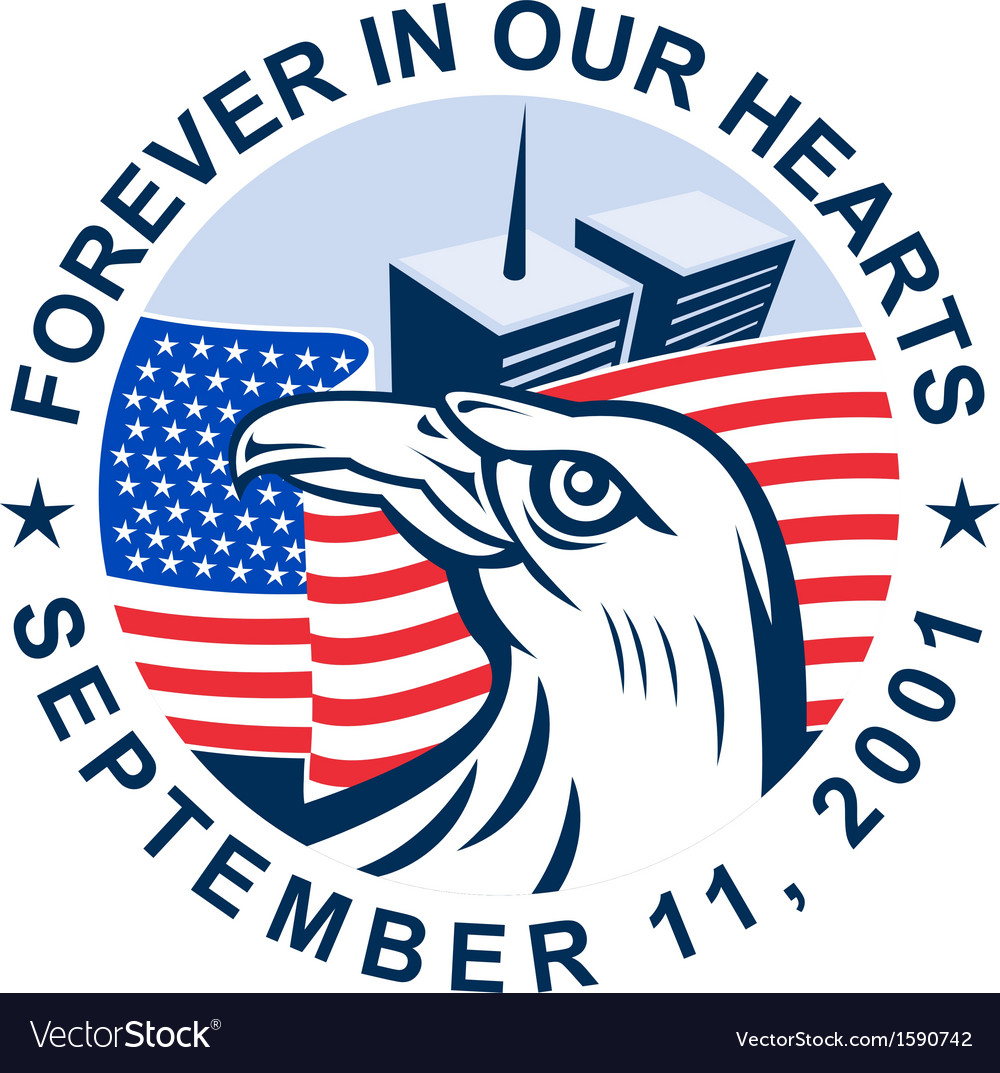 911 memorial american eagle flag twin towers vector image