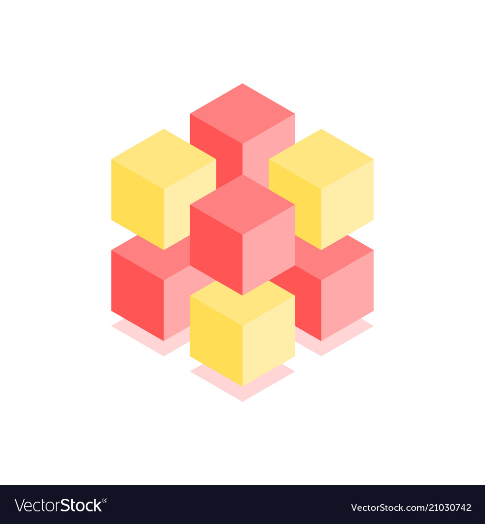 Abstract cubic icon isometric