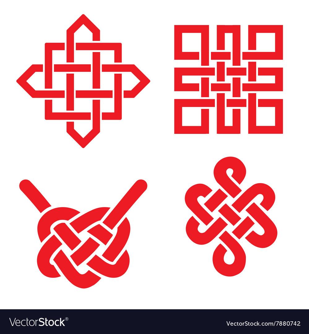 Auspicious Endless Knots Setbuddhist Symbolred Vector Image