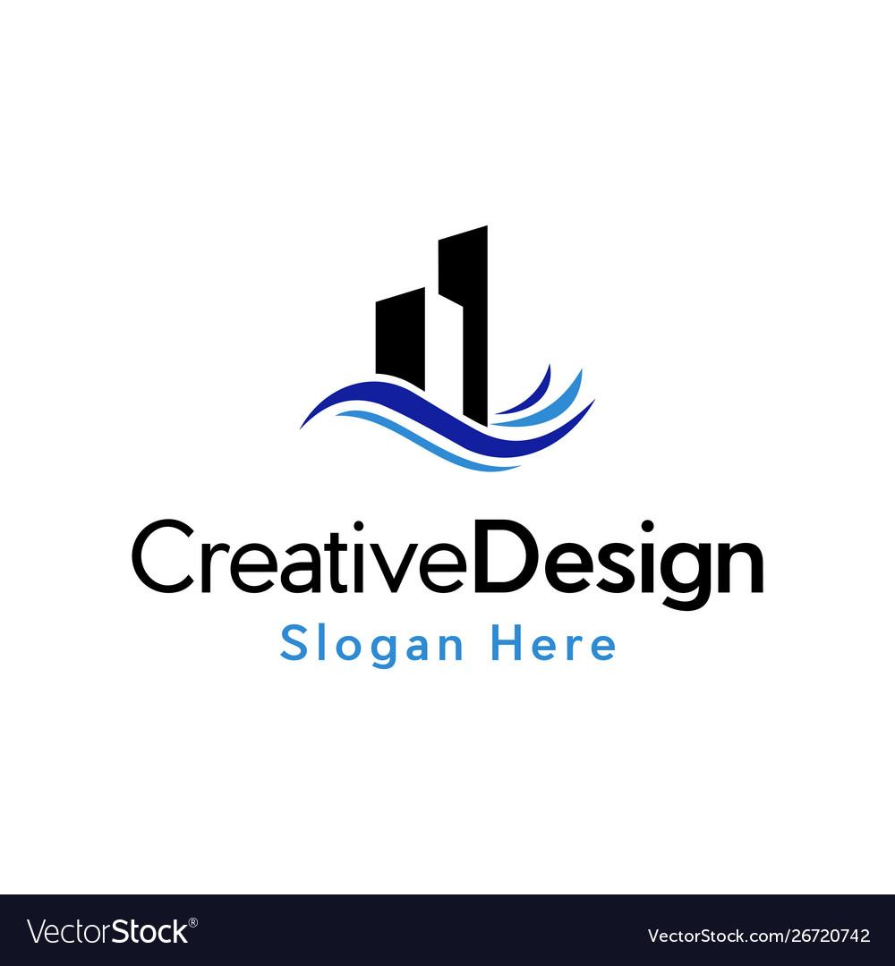 Building commercial water creative logo vector image