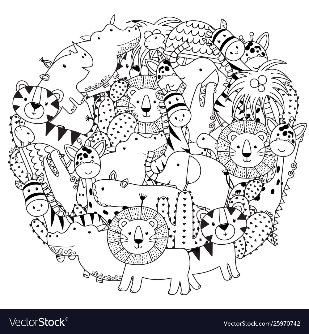 Circle shape coloring page with safari animals
