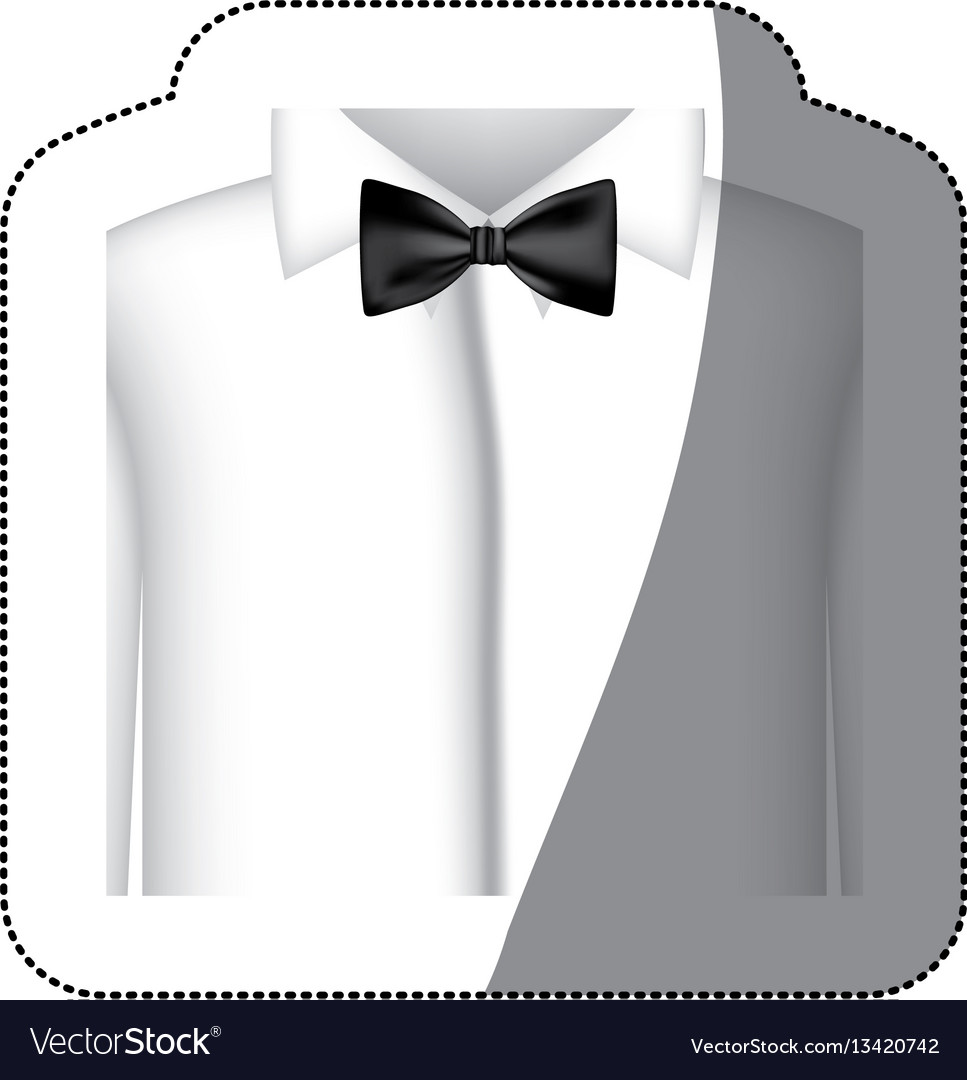 Color sticker shirt with bow tie icon