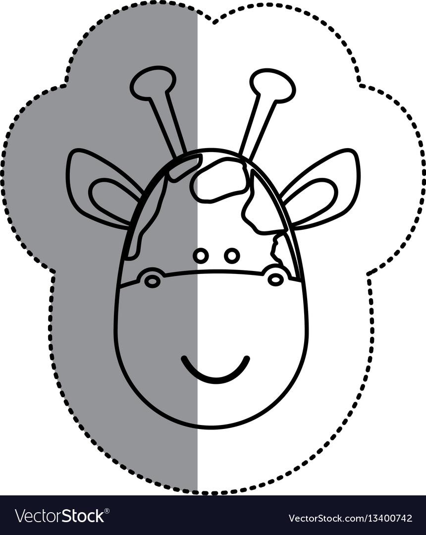 Contour face giraffe icon