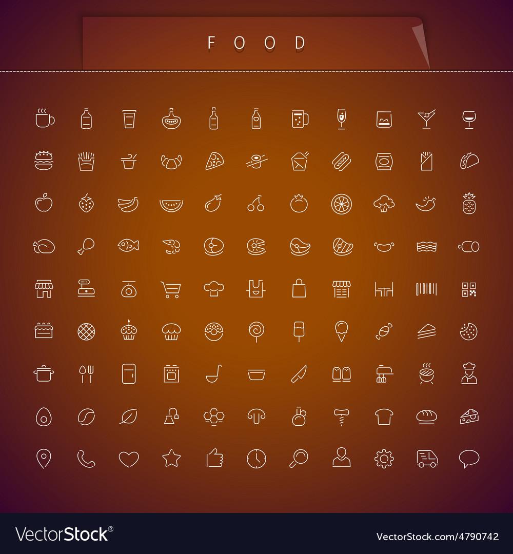 Food Thin Icons Set