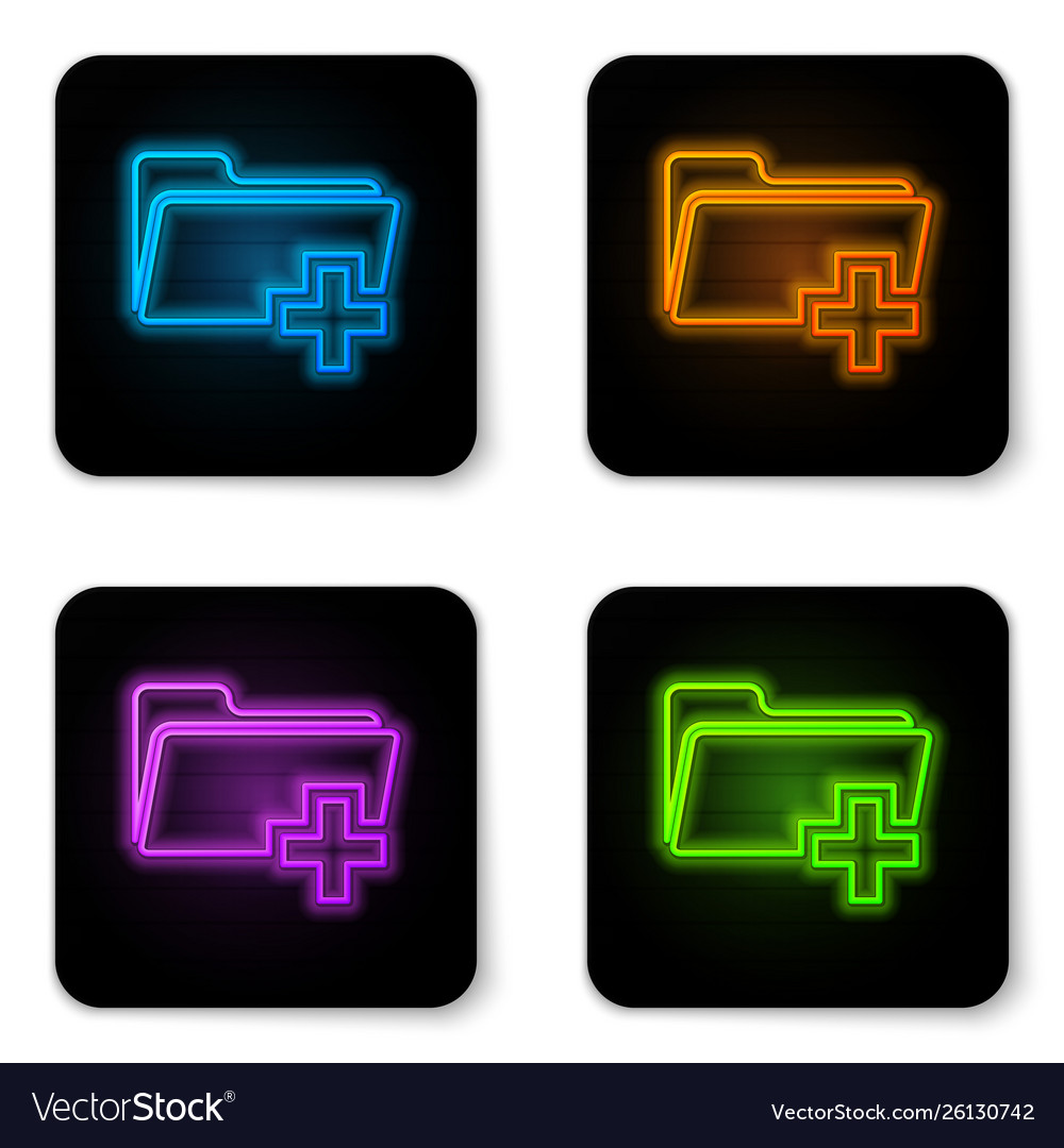 Glowing neon add new folder icon isolated on