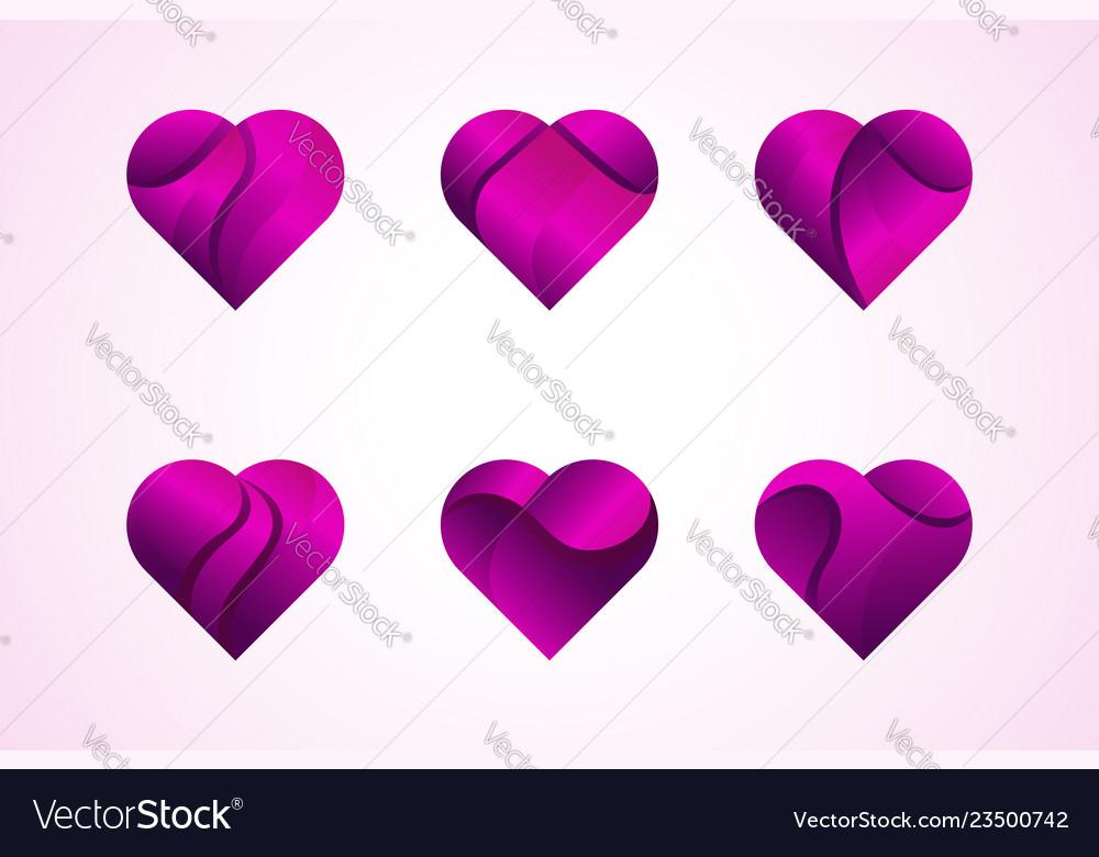 Love hearts icons logo set