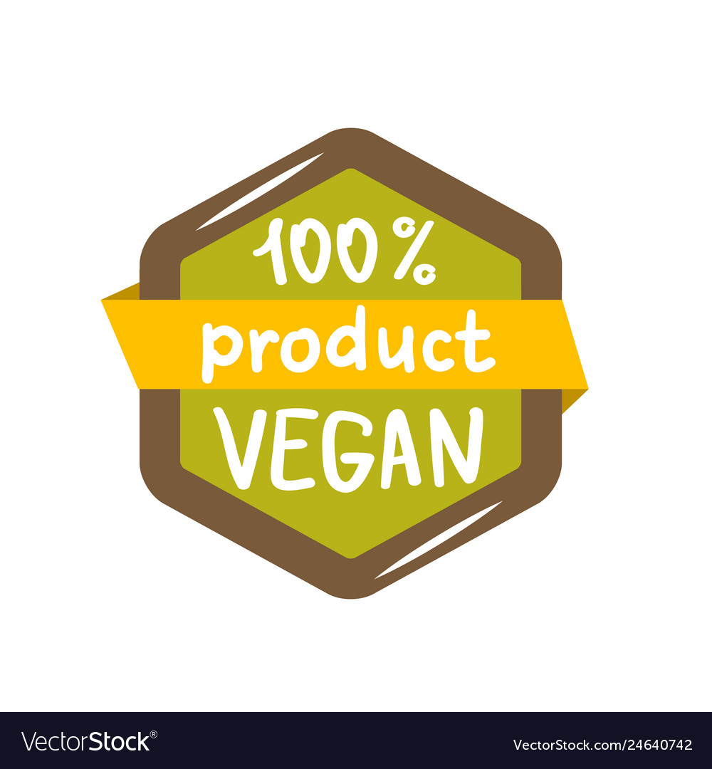 Round green labels with text vegan product