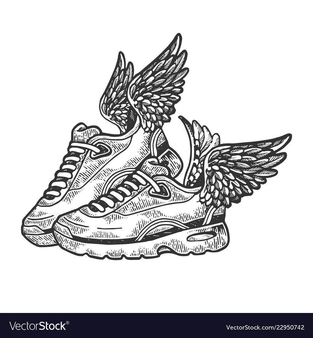 Sneakers with wings engraving Royalty Free Vector Image 137c9d9eb314