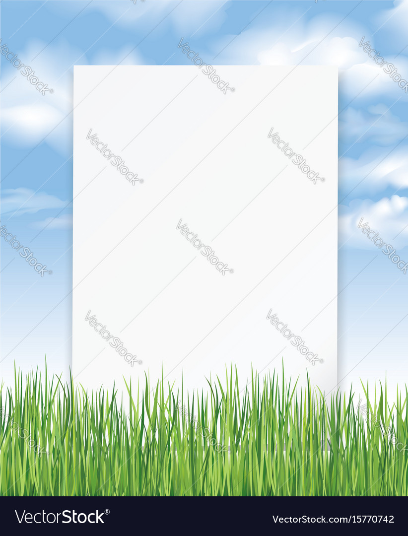 Summer outdoor background with sheet of paper Vector Image