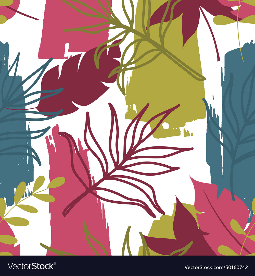 Trendy seamless pattern with tropical leaves