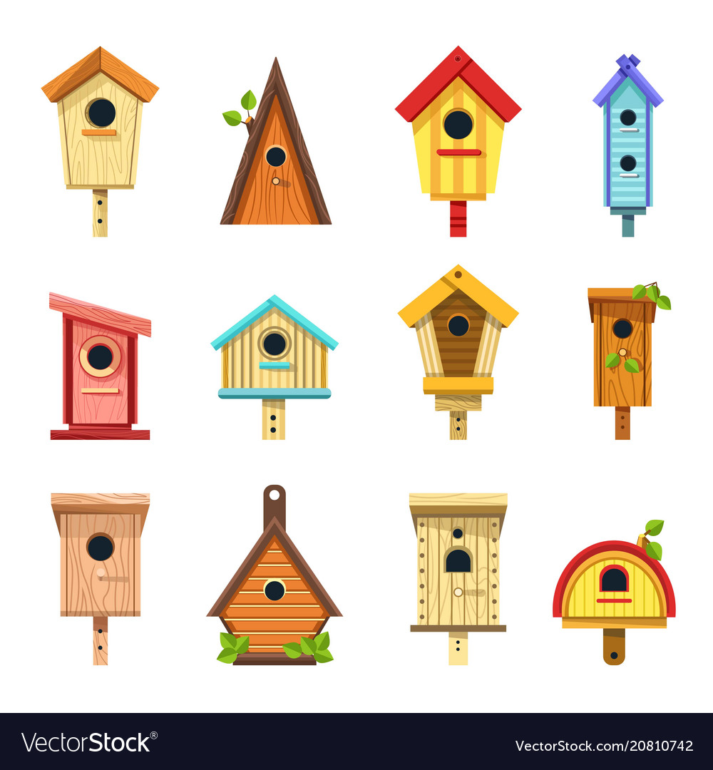 Wooden birdhouses of creative design to hang on vector image
