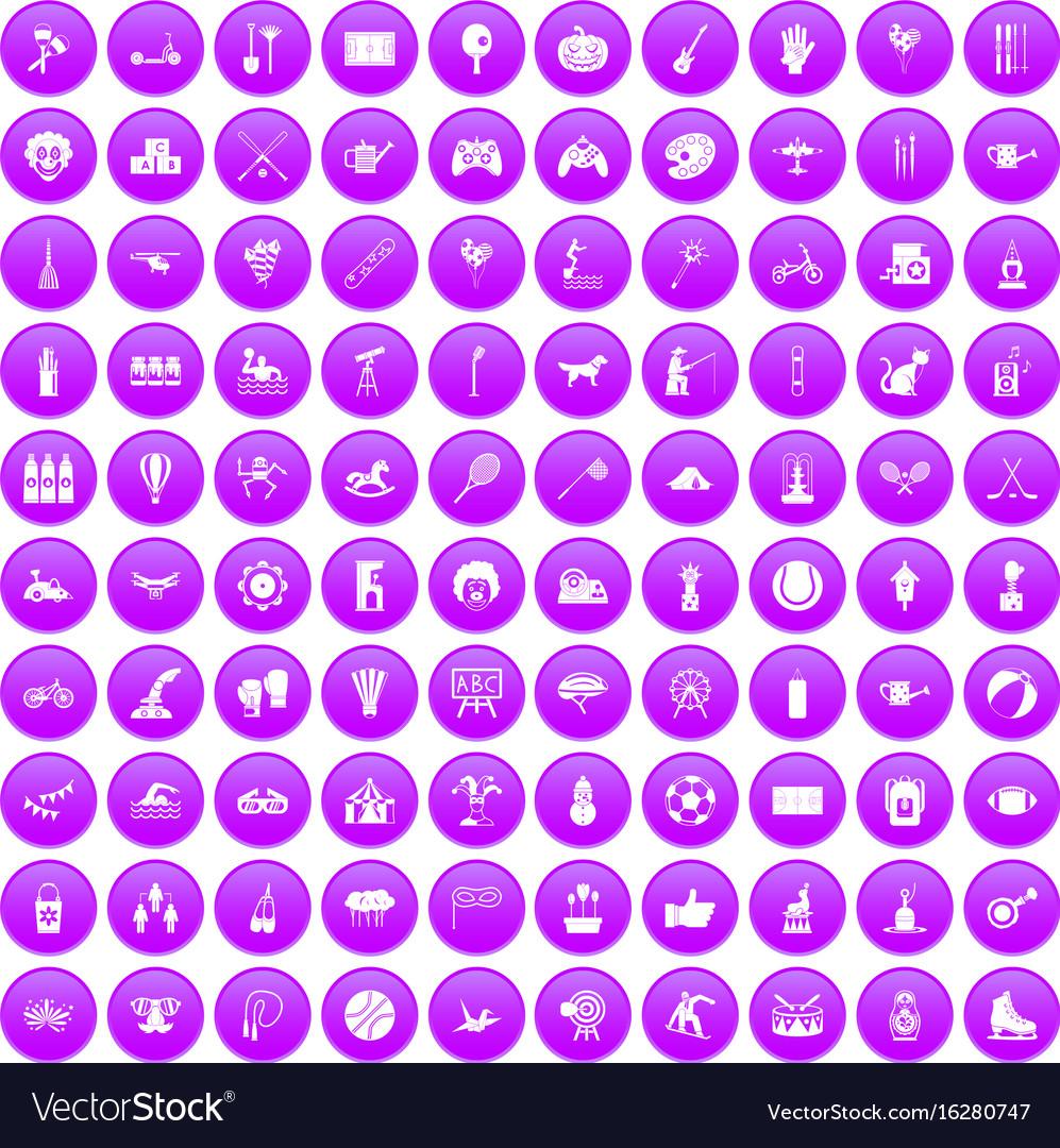 100 kids activity icons set purple
