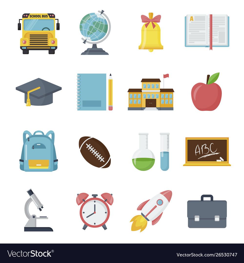 Back to school icon set student classroom