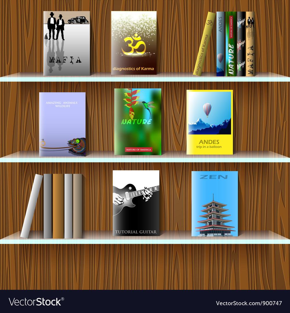 Bookshelf with books vector image Bookshelf with