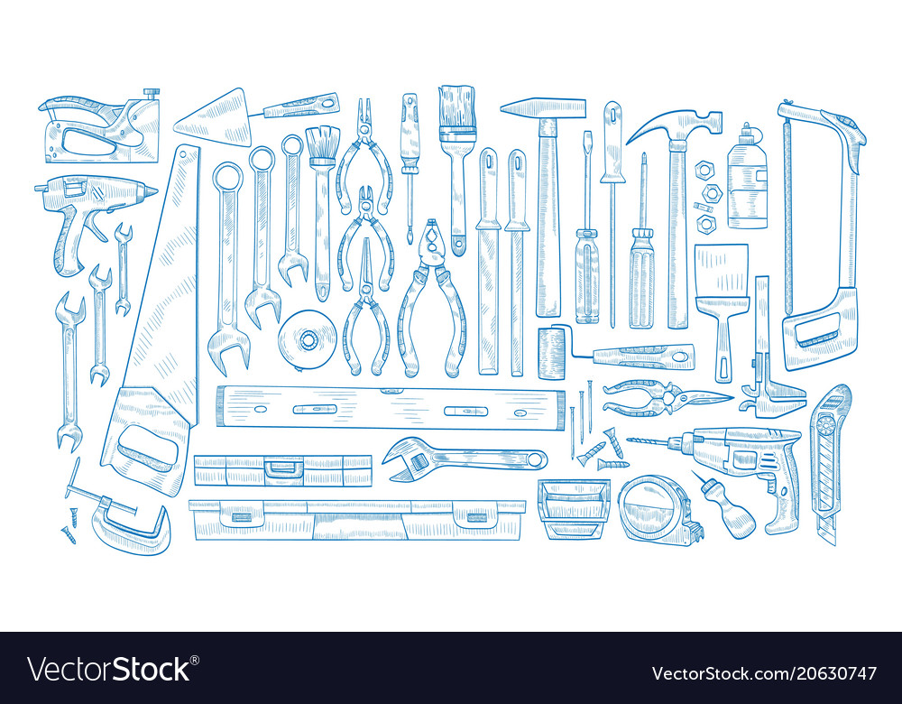 Collection of manual and powered electric tools
