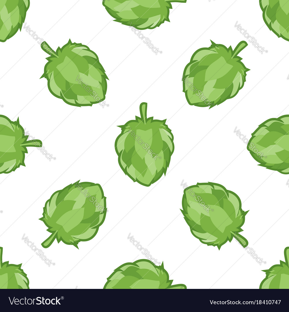 Green hop seamless pattern