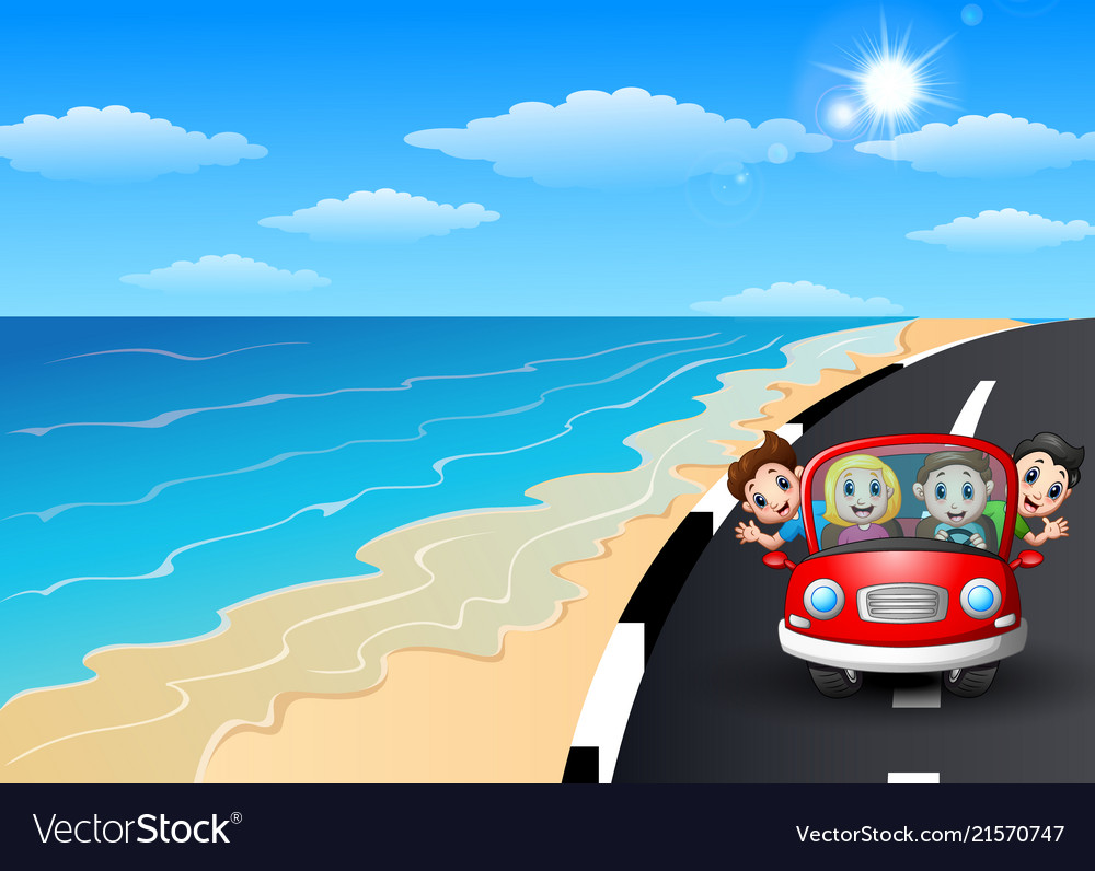 Happy family riding a car in the seaside road