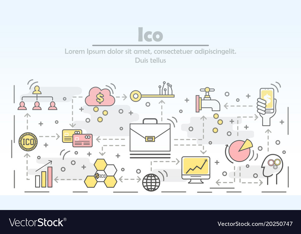 Initial coin offering concept flat line art