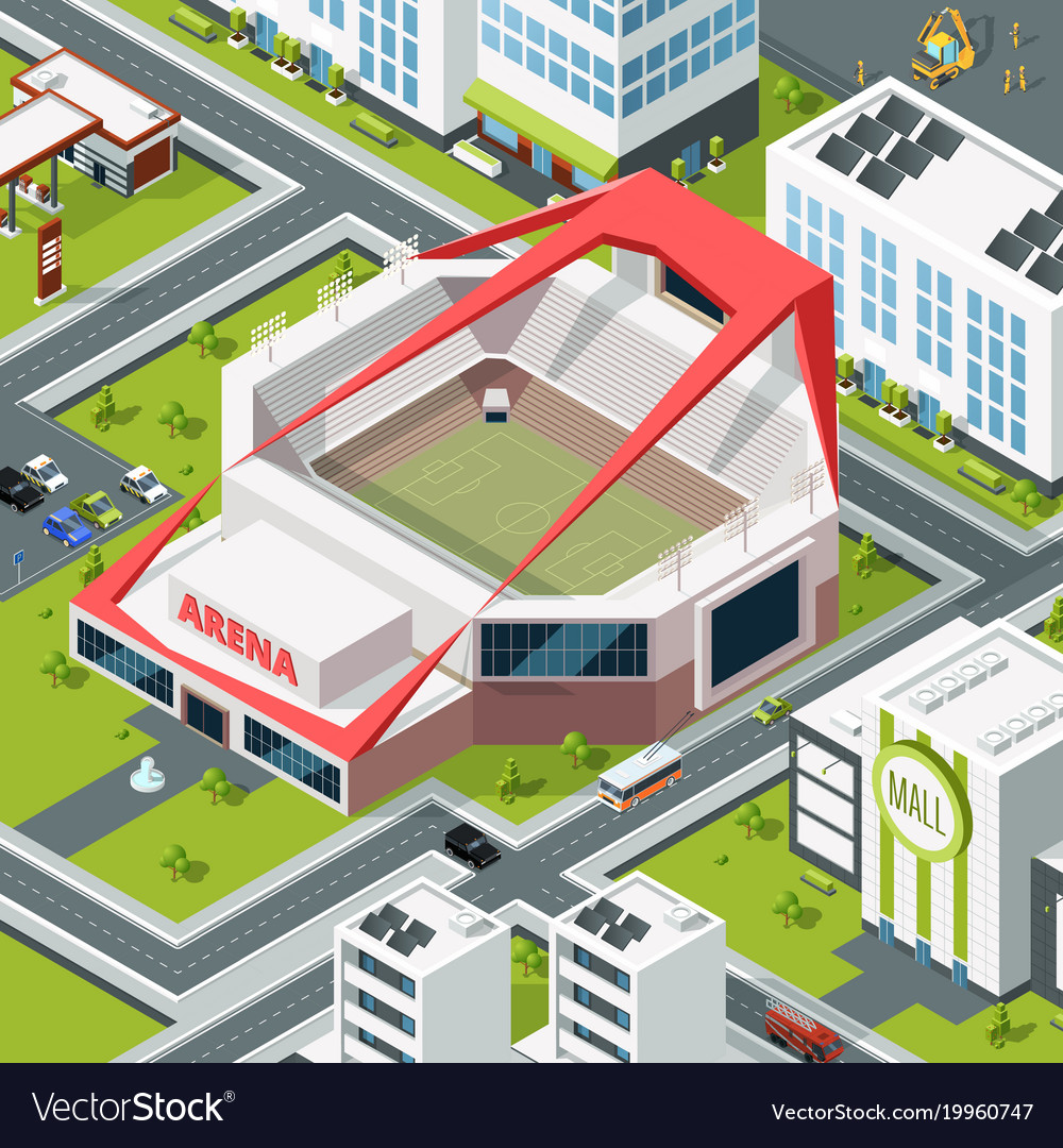 Isometric urban landscape with modern building of
