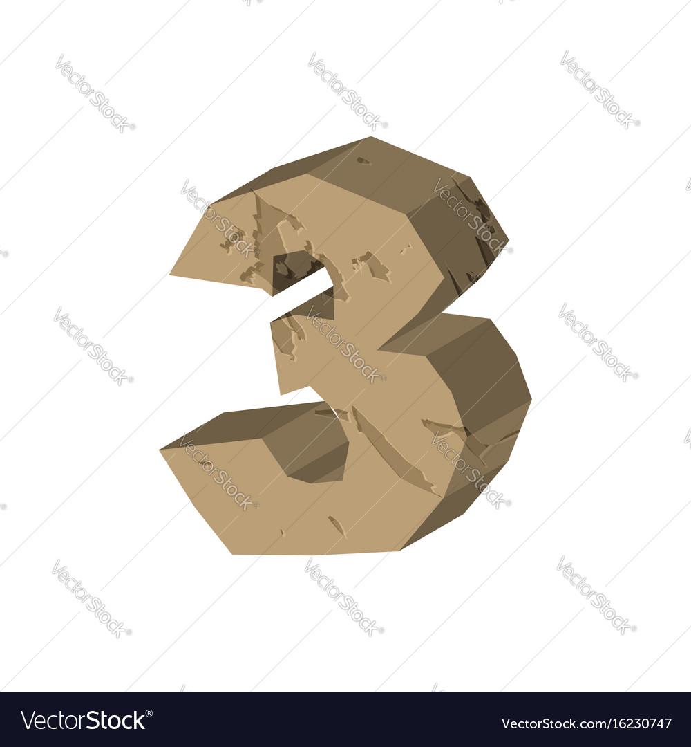 Number 3 stone rock font three stones alphabet vector image