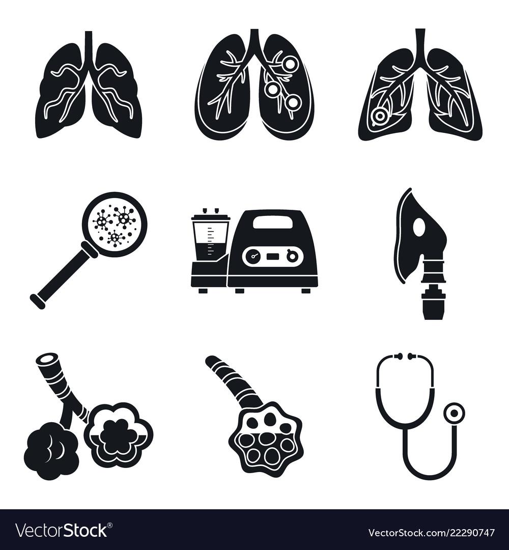 Pneumonia day icon set simple style