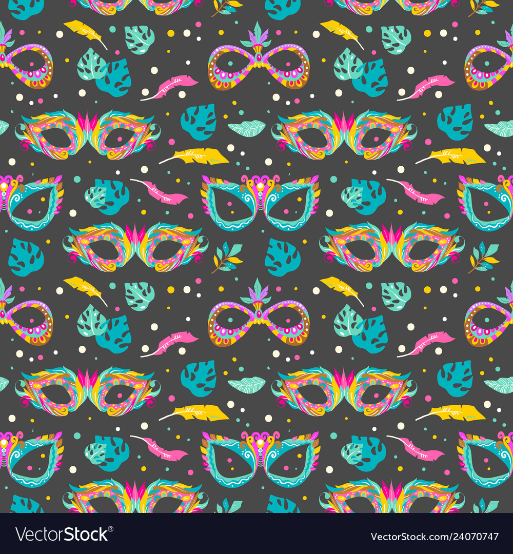 Seamless pattern with carnival masks leaves and