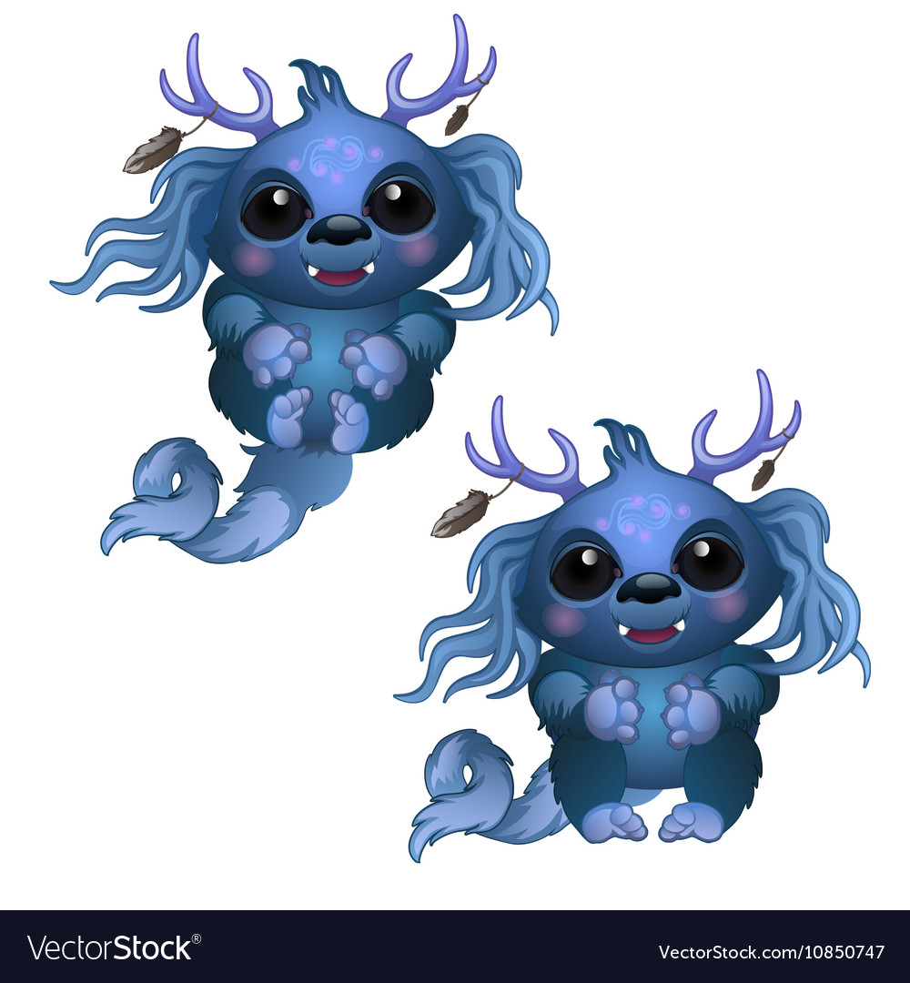 Two smiling blue monster with horns and big eyes