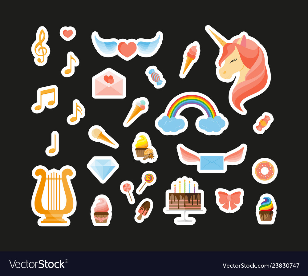 Unicorn rainbow harp musical notes sweets and