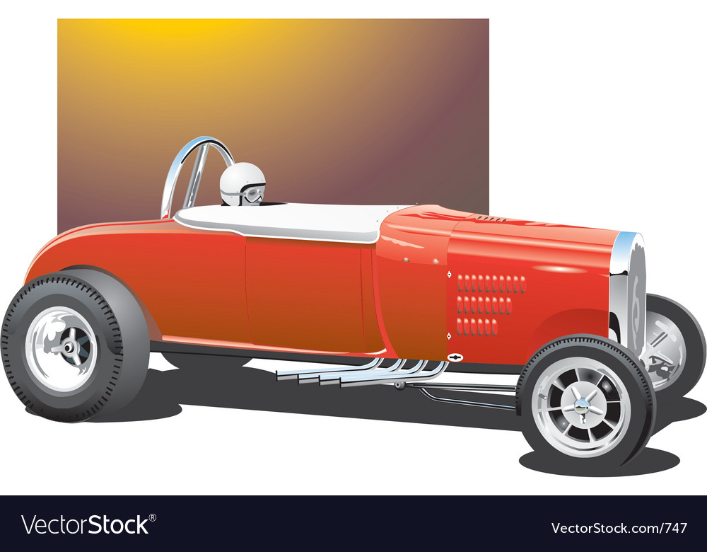 Vintage drag car vector image