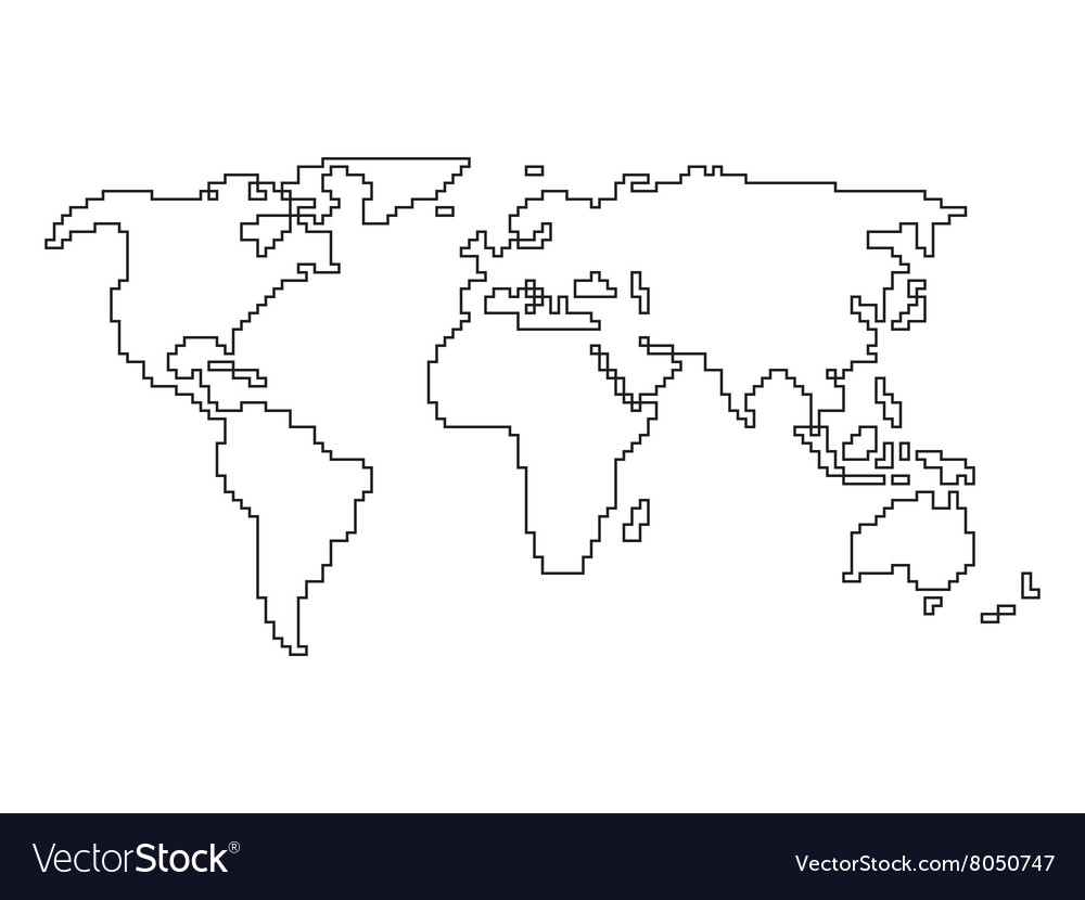 World map   angular outline Royalty Free Vector Image