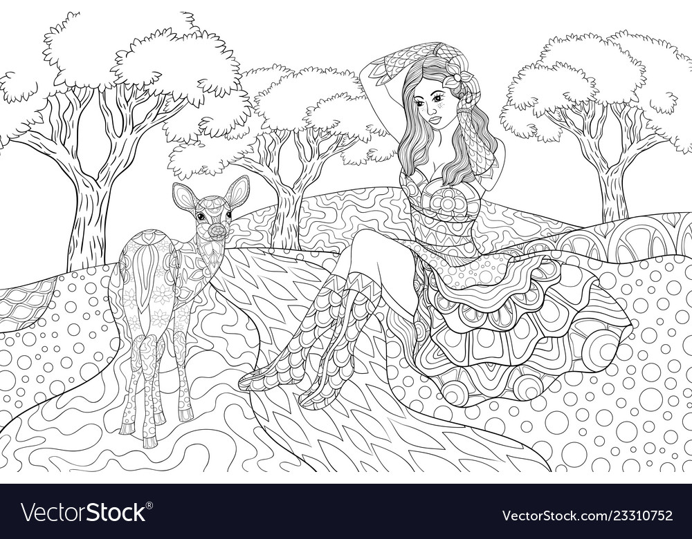 Adult coloring bookpage a cute girl wearing a