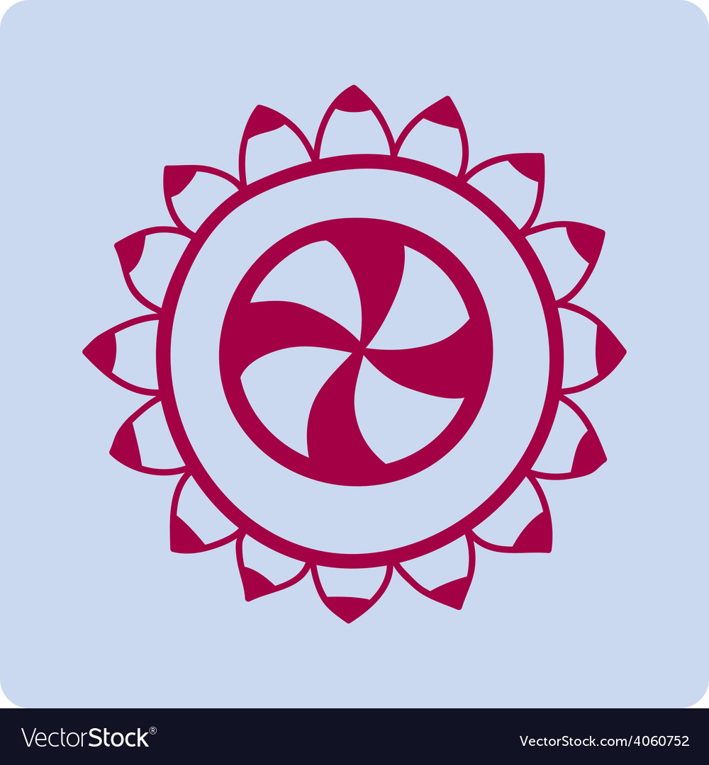 Flower circular red ornament on blue background vector image