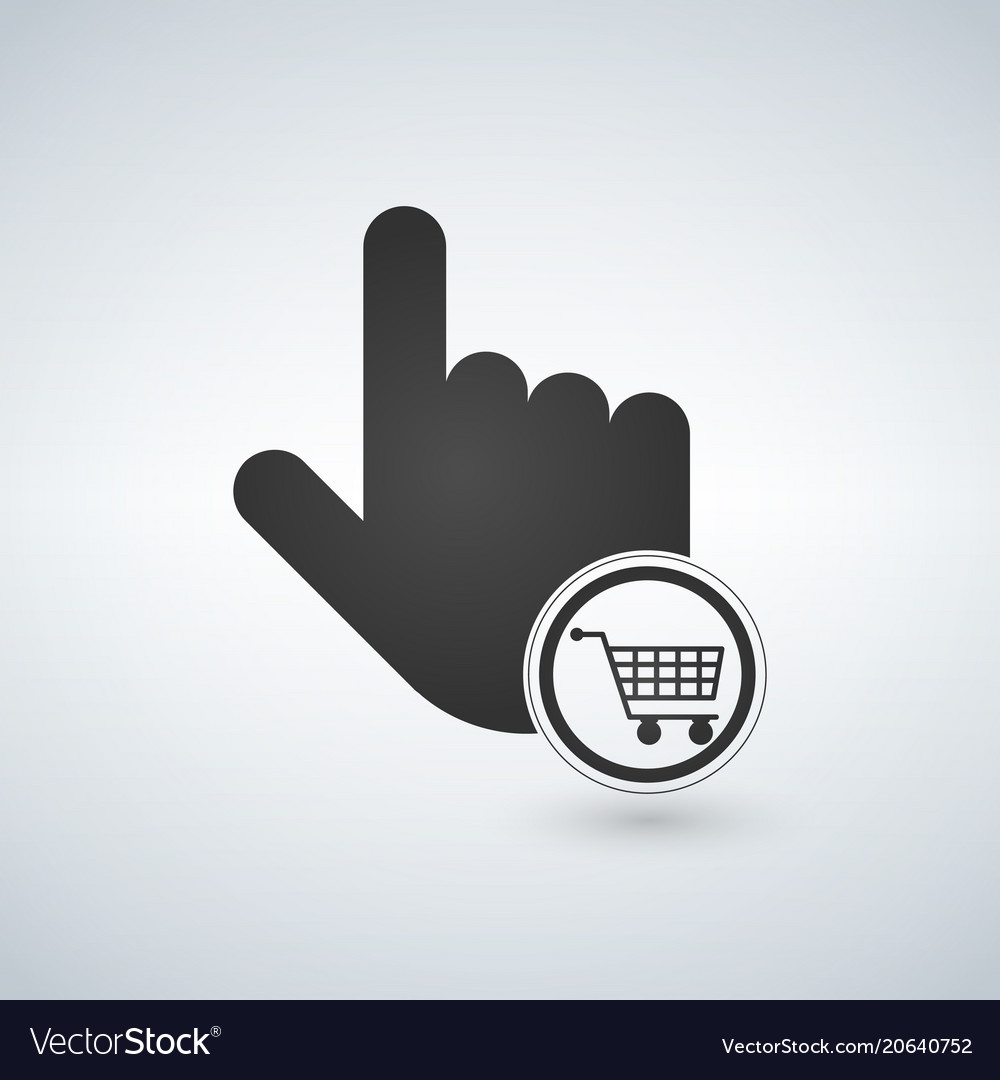 Hand pointer symbol and shopping cart concept for