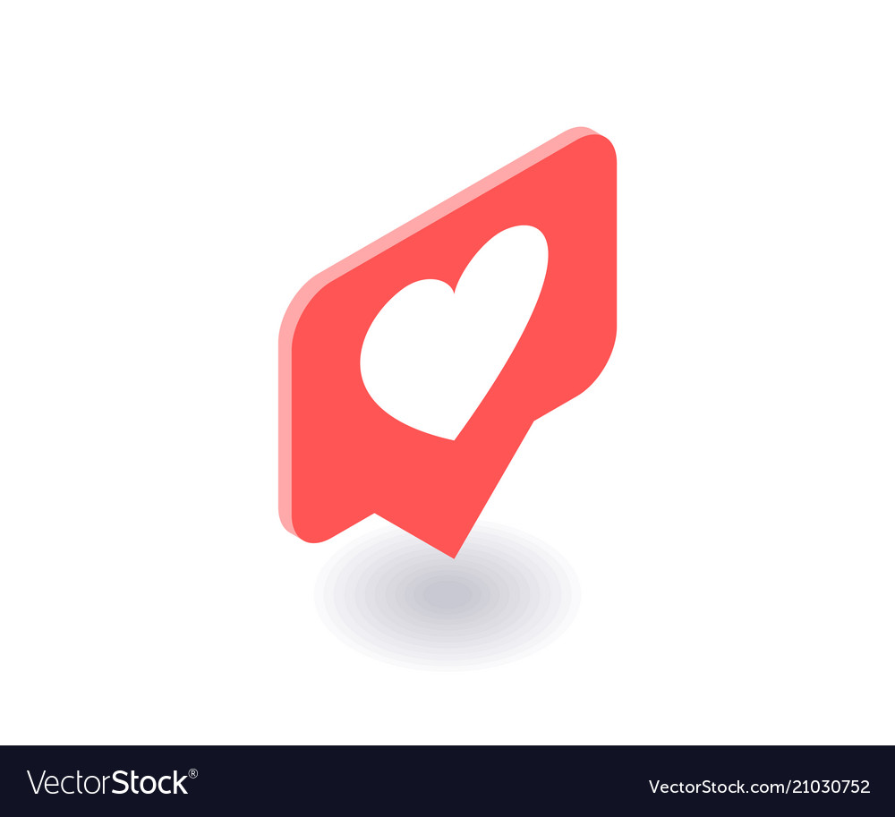 Heart Like Icon Symbol In Isometric 3d Royalty Free Vector