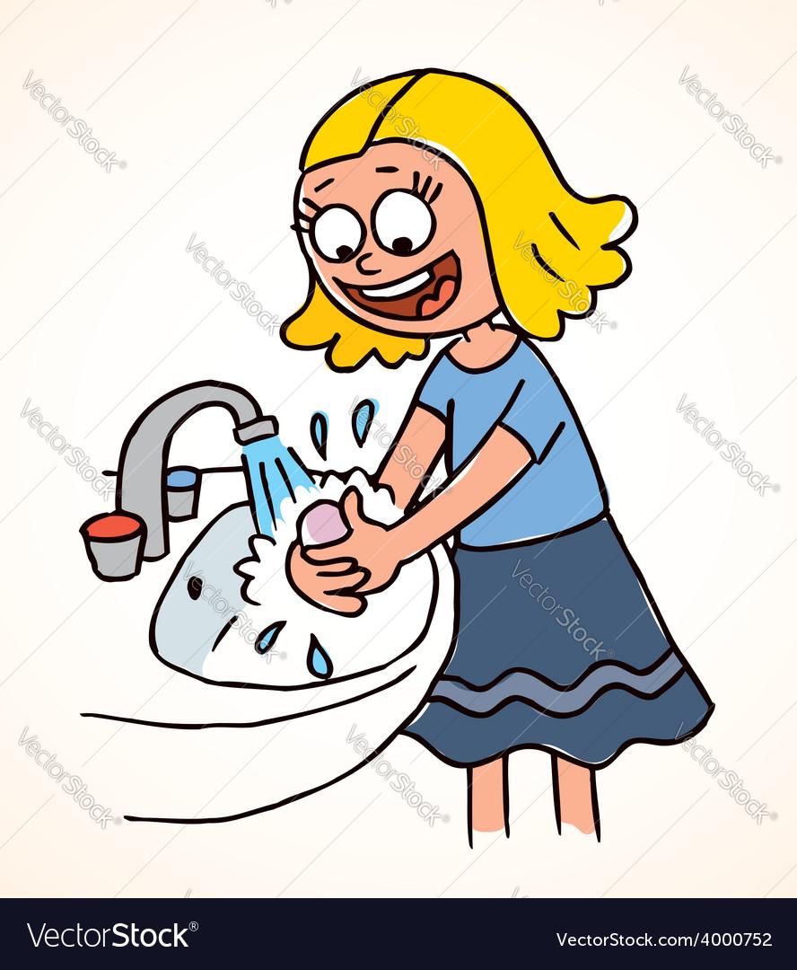 Little girl washing hands vector image