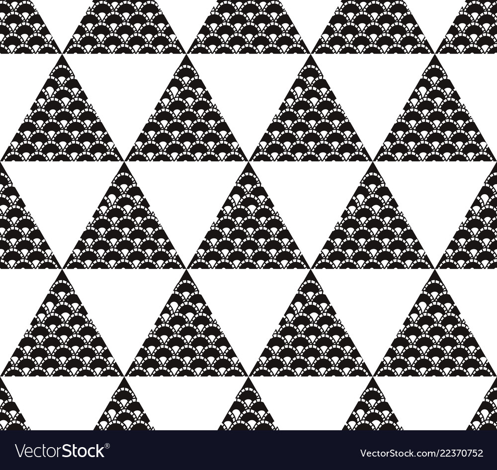 Seamless pattern with black and white triangles