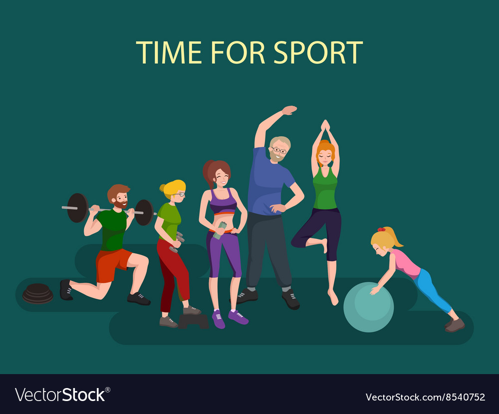 Sports and Fitness People Healthy family