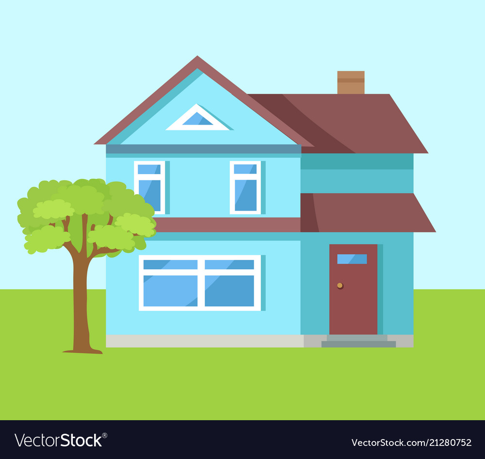 Three storey house of blue color with front door