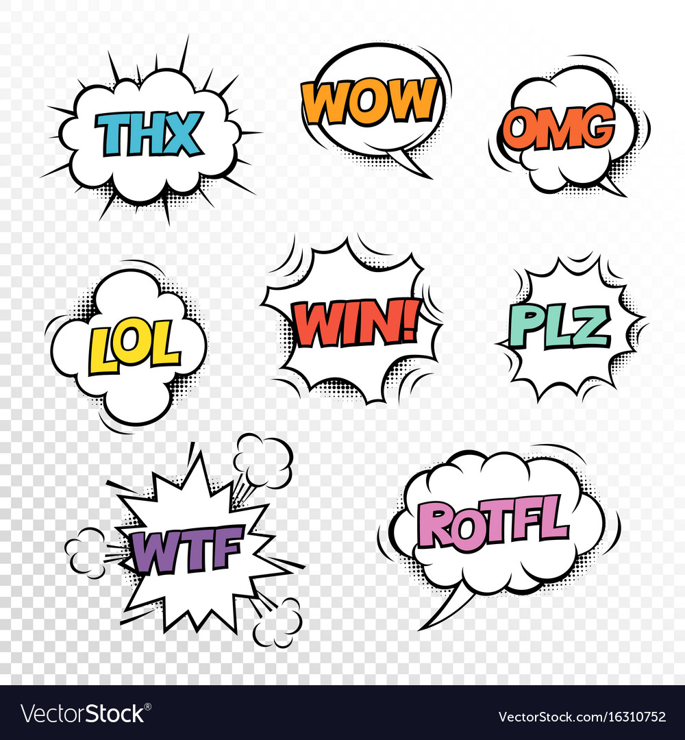 Thx plz wtf lol rotfl wow win omg comic speech vector image