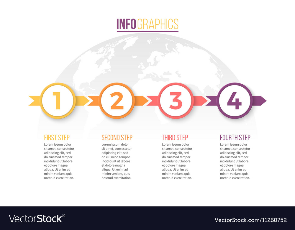 Timeline with 4 steps parts arrows vector image