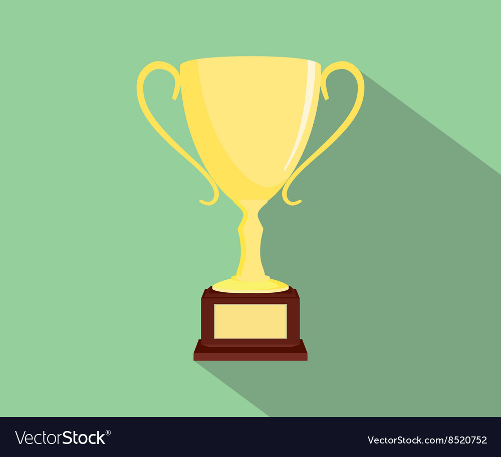 Trophy flat isolated with green background and