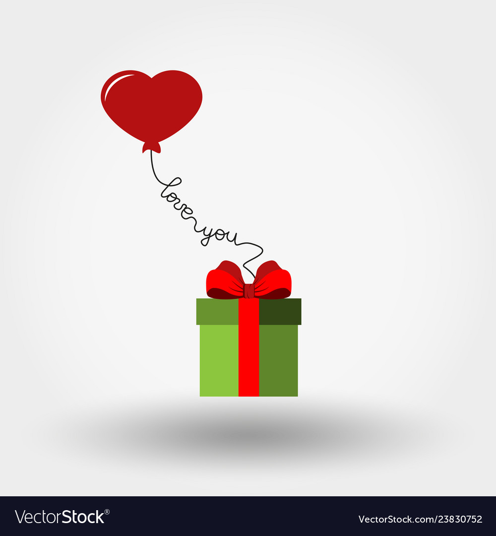Valentine s day gift box and balloon - heart